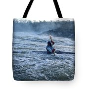 A Kayaker Takes On White Water Rapids Tote Bag