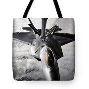 A Kc-135 Stratotanker Refuels A F-22 Tote Bag