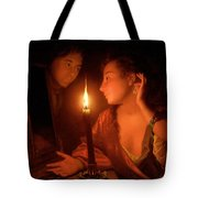 A Lady Admiring An Earring By Candlelight Tote Bag