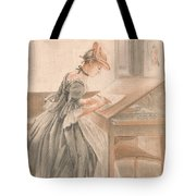 A Lady Copying At A Drawing Table Tote Bag