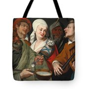 A Lady Holding A Swaddled Cat A Man With A Pan Of Porridge Another Playing With Fire Irons And Two O Tote Bag