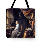A Lady Playing The Clavichord Tote Bag