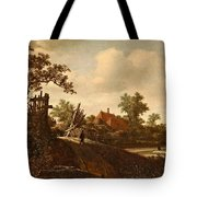 A Landscape With A Figure On A Path And A Bleaching Tote Bag