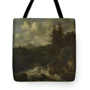 A Landscape With A Waterfall And A Castle On A Hill Tote Bag