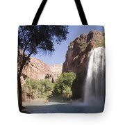 A Large Waterfall Hydrates A Narrow Tote Bag