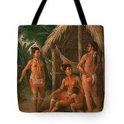 A Leeward Islands Carib Family Outside A Hut Tote Bag