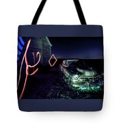 A Light Painted Scene Of A Rusty Caddy By A Barn And Cornfield Tote Bag