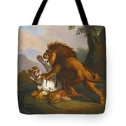 A Lion And Tiger In Combat Tote Bag
