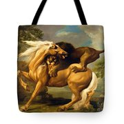 A Lion Attacking A Horse Tote Bag