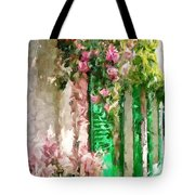 A Little Cozy Street With Roses Tote Bag