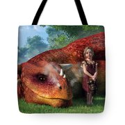 A Little Girl And Her Dragon Tote Bag