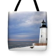 A Lonely Seagull Was Flying Over The Pemaquid Point Lighthouse Tote Bag