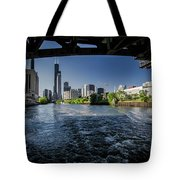 A Look At The Chicago Skyline From Under The Roosevelt Road Bridge  Tote Bag