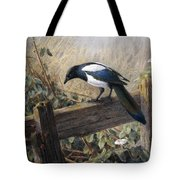 A Magpie Observing Field Mice Tote Bag