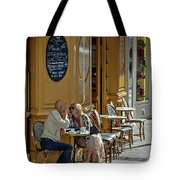 A Man A Woman A French Cafe Tote Bag by Allen Sheffield