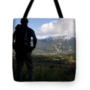 A Man Admires The View Over The Valley Tote Bag