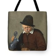 A Man Holding A Tankard And A Glass Tote Bag