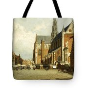 A Market By The St. Bavo Church Tote Bag