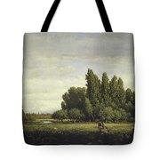 A Meadow Bordered By Trees Tote Bag