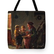 A Meal. Two Boys And A Grandmother Tasting The Potato Soup Tote Bag