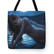 A Mermaid In The Moonlight - Love Is Mystery Tote Bag by Marco Busoni