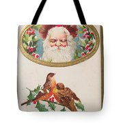 A Merry Christmas From Santa Claus Vintage Greeting Card With Robins Tote Bag