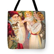 A Merry Christmas Vintage Card Santa And A Family Tote Bag
