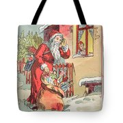 A Merry Christmas Vintage Greetings From Santa Claus And His Gifts Tote Bag