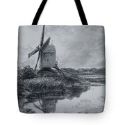 A Mill On The Banks Of The River Stour Charcoal On Paper Tote Bag