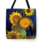 A Modern Look At Vincent's Vase With 5 Sunflowers Tote Bag
