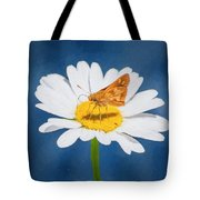A Moth Collects Pollen On A Single Daisy Blossom. Tote Bag