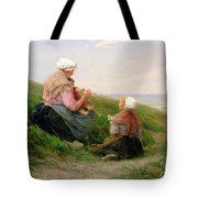 A Mother And Her Small Children Tote Bag