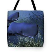 A Mother Sperm Whale Escorts Her Calf Tote Bag