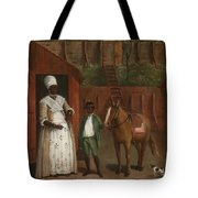 A Mother With Her Son And A Pony Tote Bag