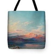 A Mountain Lake At Sunset Tote Bag