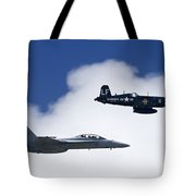 A Navy F-18 And A Wwii Vintage F4u Tote Bag