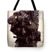 A Navy Seal Exits The Water Armed Tote Bag