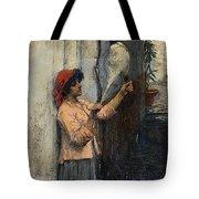 A Neapolitan Flax Spinner John William Waterhouse Tote Bag