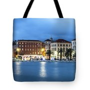 A Night View Of Split Old Town Waterfront In Croatia Tote Bag