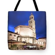 A Night View Of The Cathedral Of Saint Domnius In Split Tote Bag