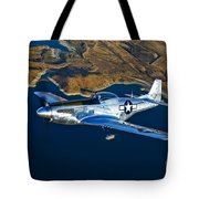 A North American P-51d Mustang Flying Tote Bag