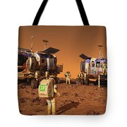 A Pair Of Manned Mars Rovers Rendezvous Tote Bag