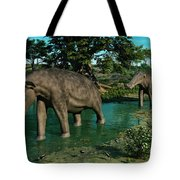 A Pair Of Platybelodon Grazing Tote Bag by Walter Myers