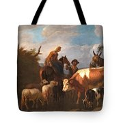 A Peasant Couple Amongst Their Cattle And Sheep Tote Bag