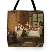 A Peasant Family At Their Meal With A Crying Boy Tote Bag