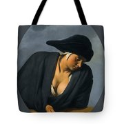 A Peasant Woman Wearing A Black Hat Leaning On A Wooden Ledge Tote Bag
