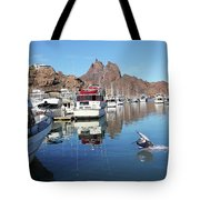 A Pelican Lands In The Old San Carlos Marina, Guaymas, Sonora, M Tote Bag