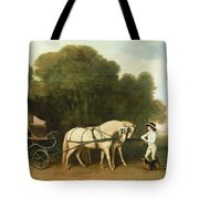 A Phaeton With A Pair Of Cream Ponies In The Charge Of A Stable-lad Tote Bag by George Stubbs