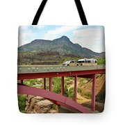 A Pickup Pulling A Travel Trailer Across The Salt River Canyon B Tote Bag