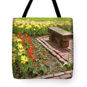 A Place To Sit By The Flowers Tote Bag